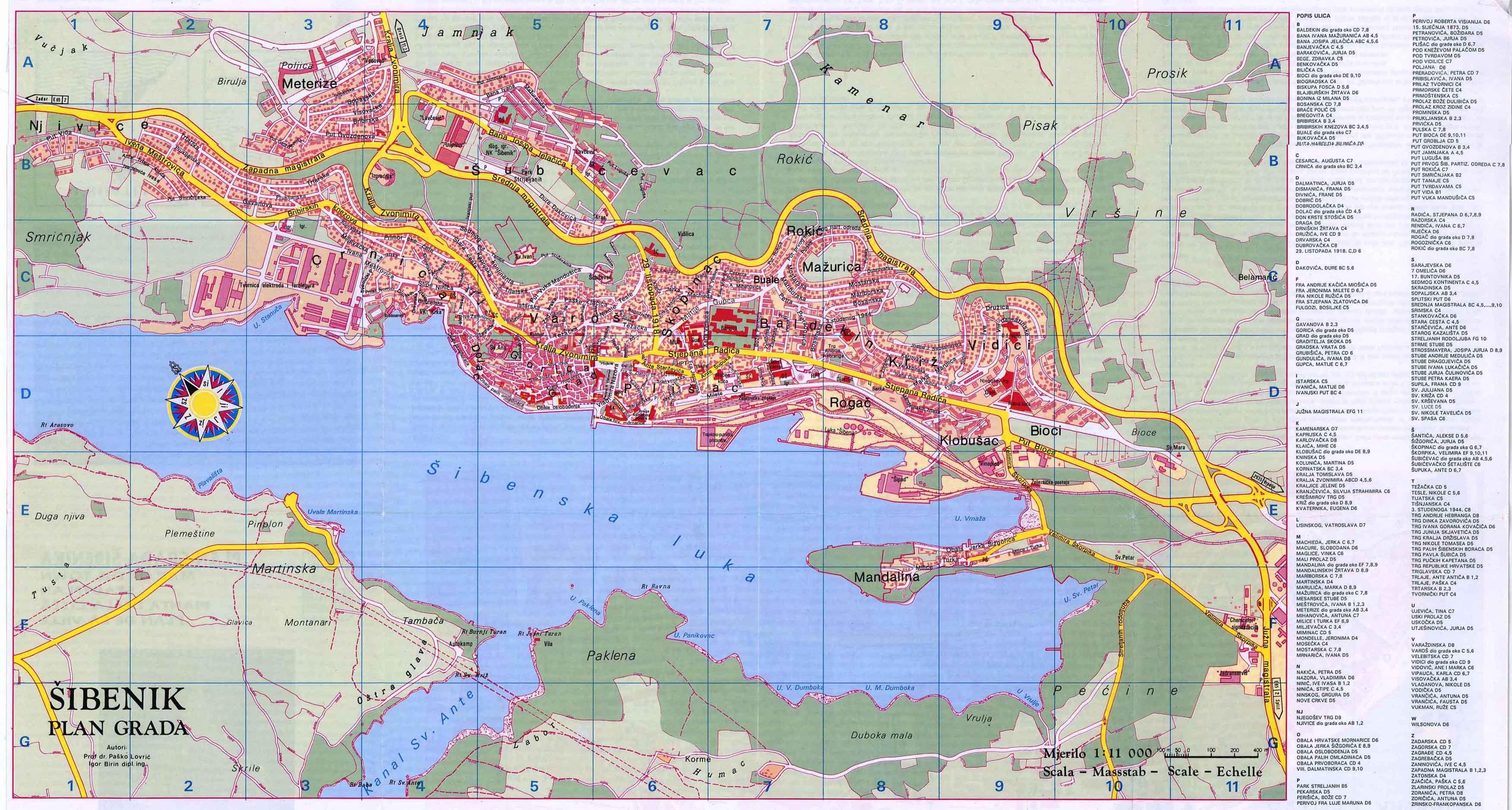 Carte de ville Sibenik détaillée, plan de ville